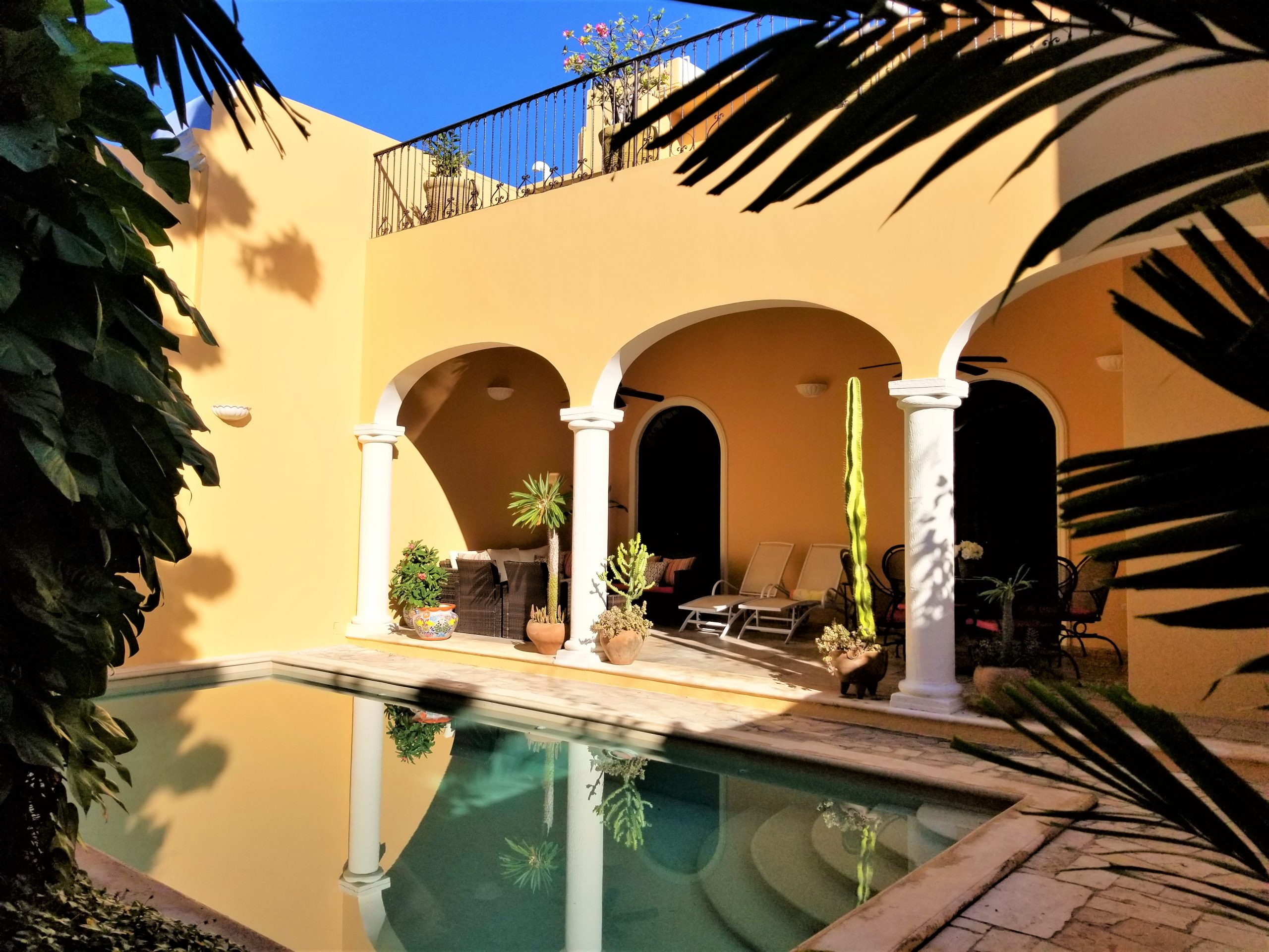 Private pool and backyeard of casa santa lucia in merida